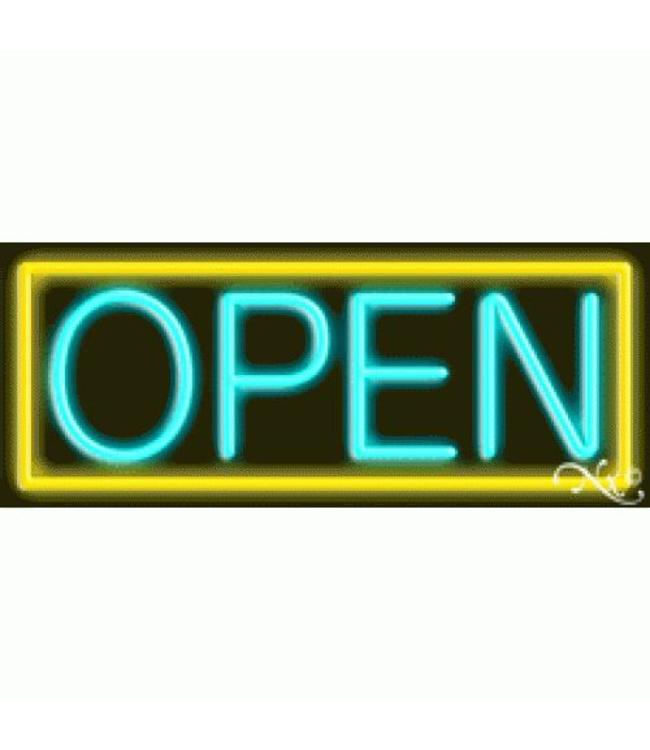 ART  SIGNS NEON SIGNS #NS10001-YA Open (Yellow/Aqua)