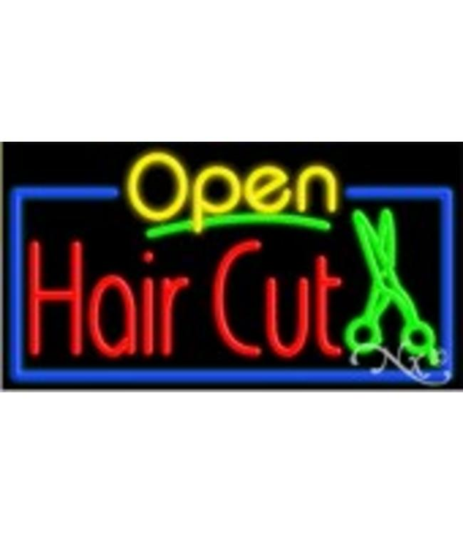ART  SIGNS NEON SIGNS #NS15405 Open Hair Cut