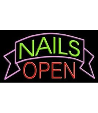 ART  SIGNS NEON SIGNS #NS10355 Nails Open