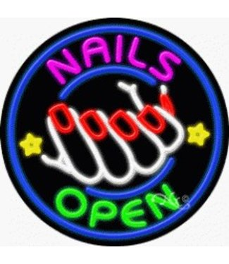 ART  SIGNS NEON SIGNS #NS11826  Nails Open