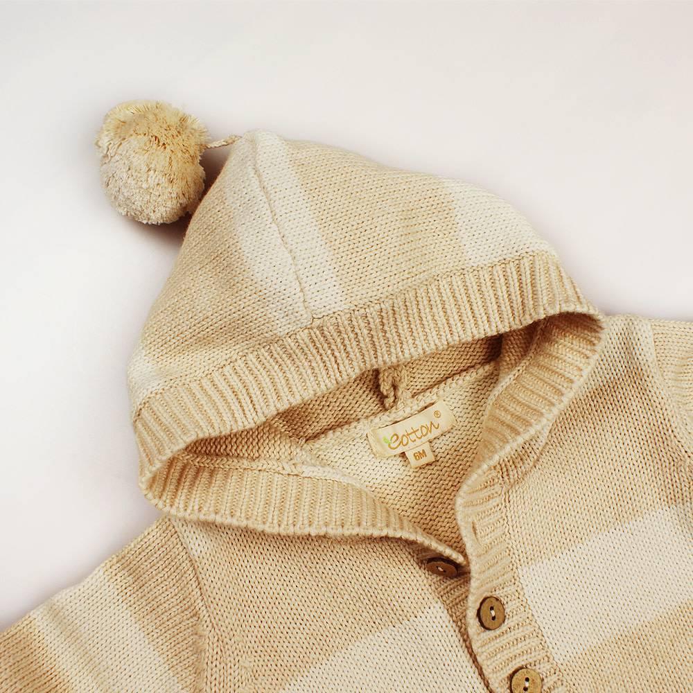 18dc0b508ff Organic Unisex Cable Knit Sweater Romper - mommiganics