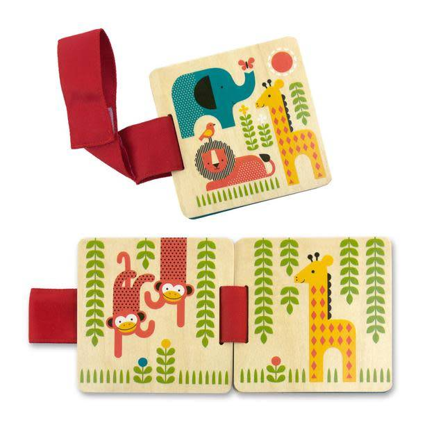 Petit Collage Wooden Stroller Book Safari Animals