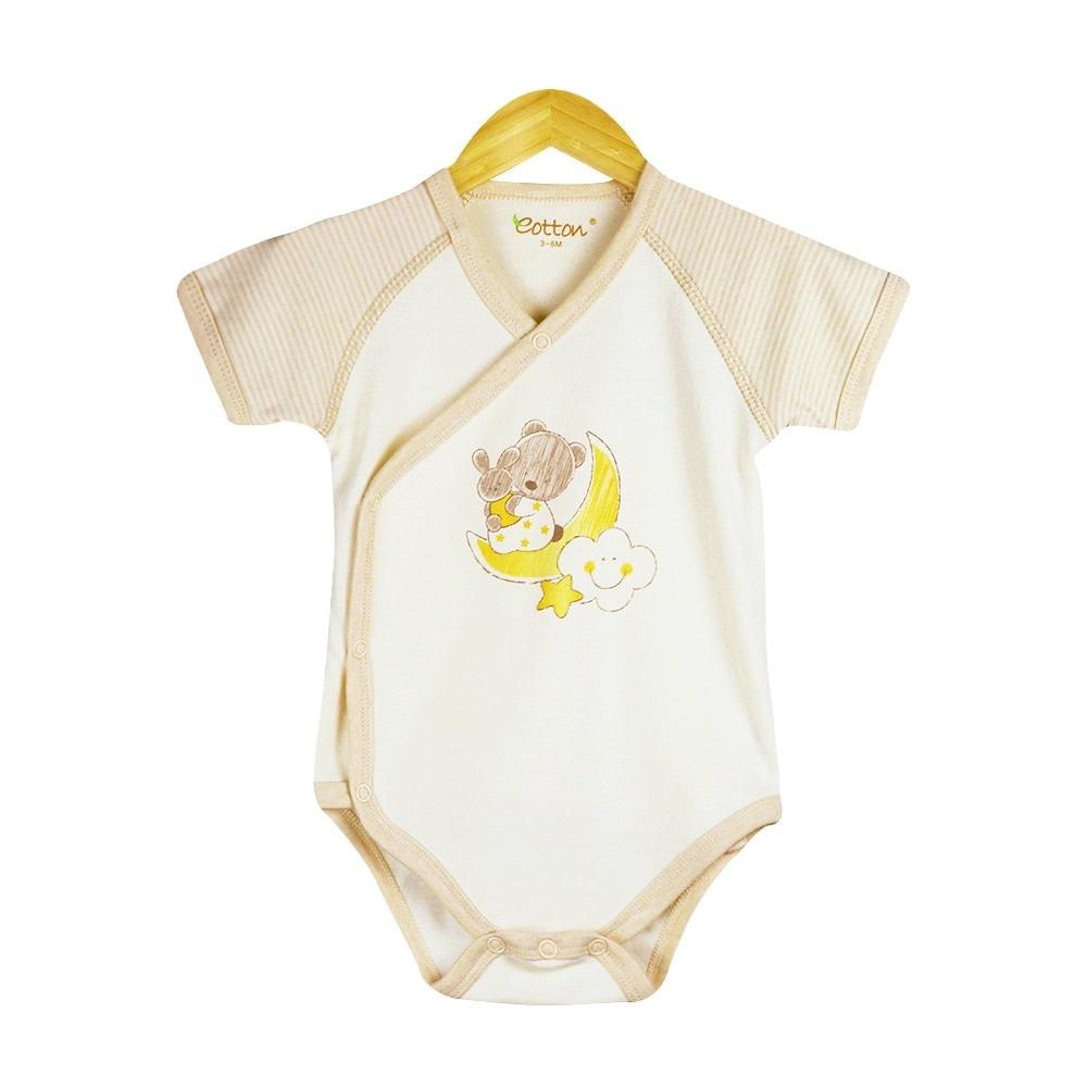 Eotton Certified Organic Unisex Baby Short Sleeve Kimono Bodysuit