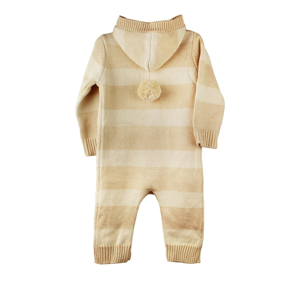 enlee Certified Organic Unisex Baby Knitted Romper with Hood