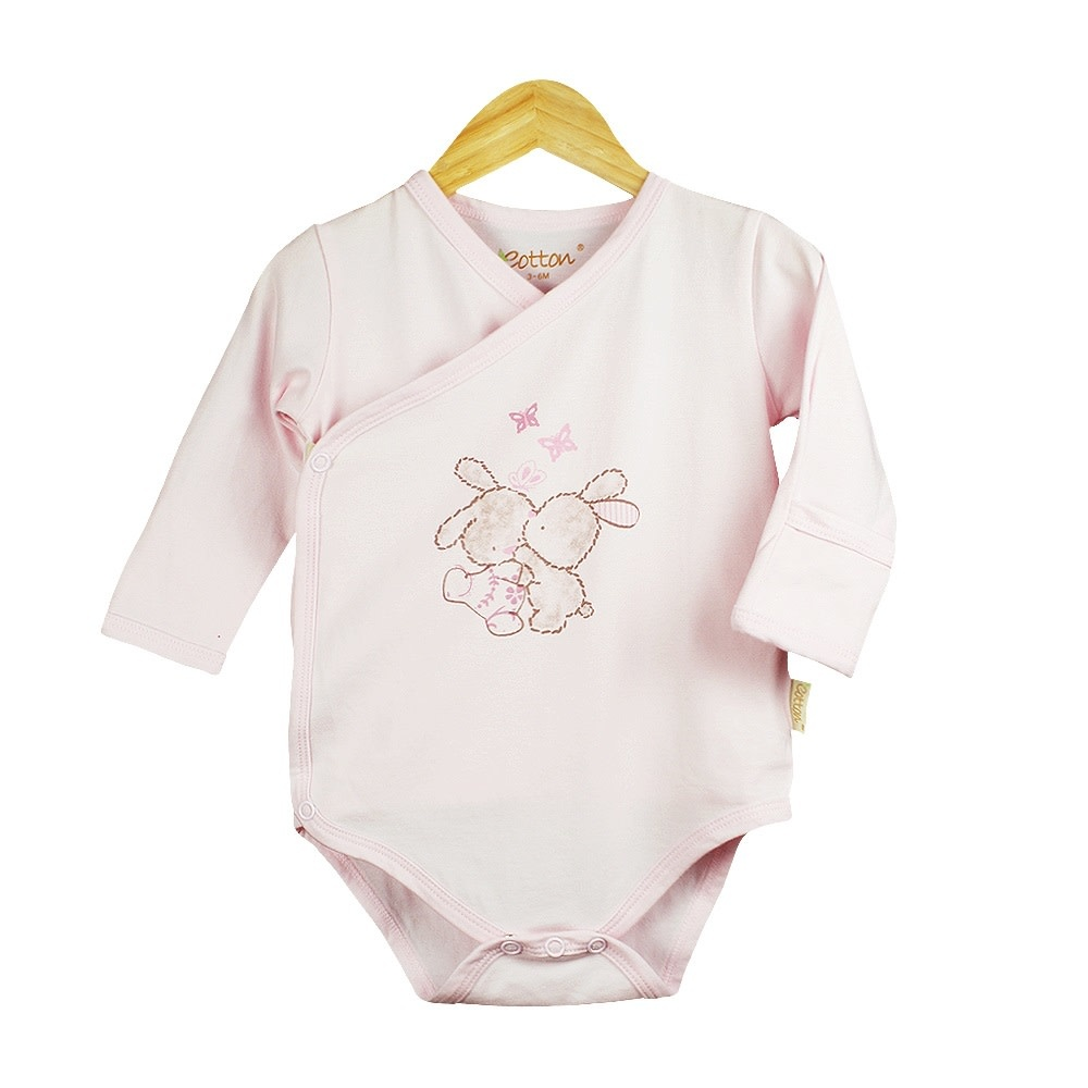 enlee Certified Organic Baby Girl Long Sleeve Kimono Bodysuit