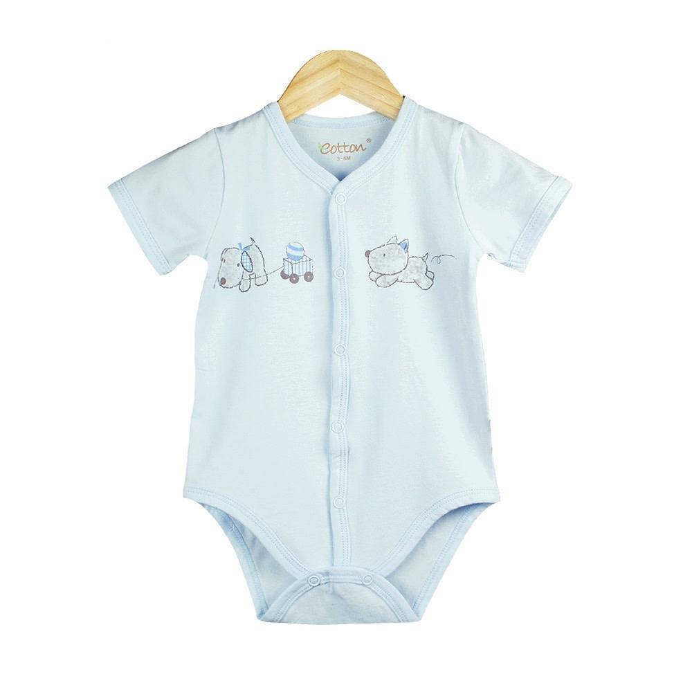 enlee Certified Organic Baby Boy Short Sleeve Bodysuit