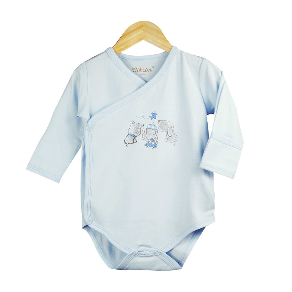 Eotton Certified Organic Baby Boy Long Sleeve Kimono Bodysuit