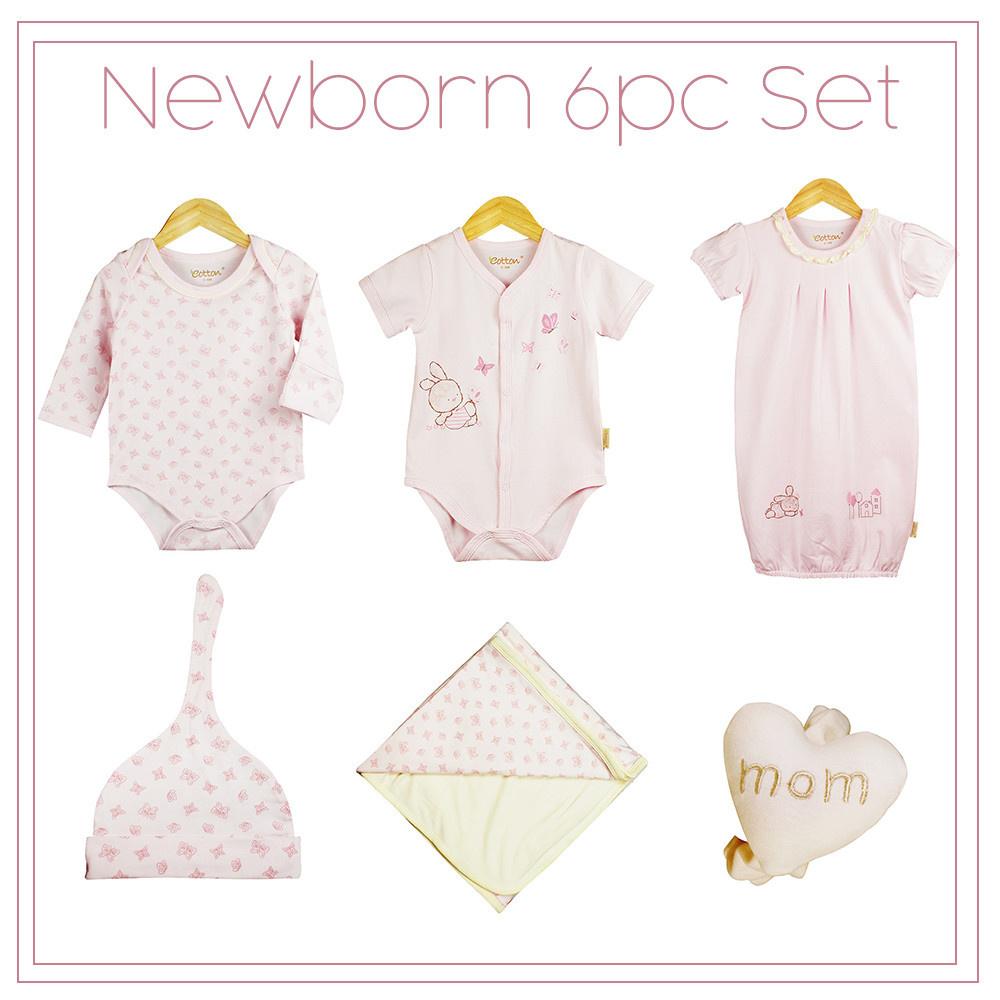 13f928c22aa7d Certified Organic Baby Girl Newborn 6pc Set, Pink - mommiganics