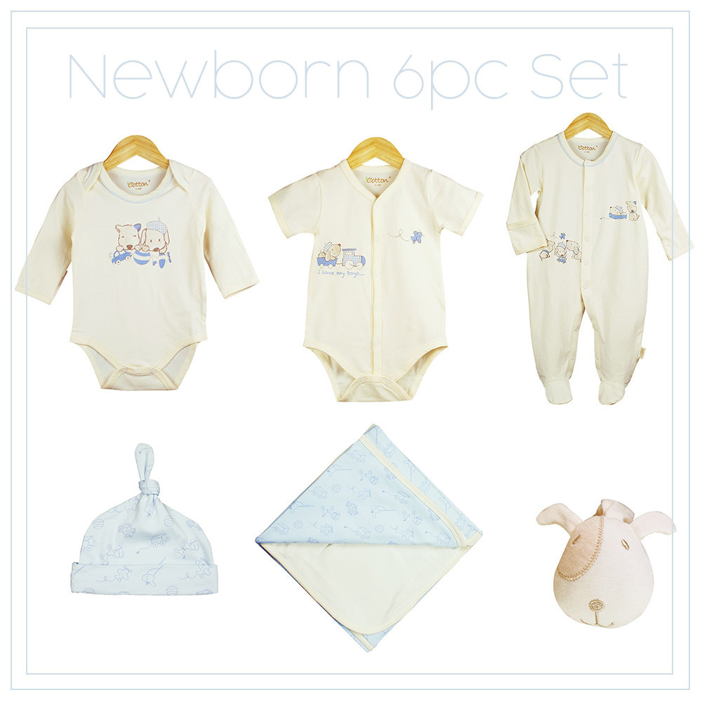 Certified Organic Baby Boy Newborn 5pc Set, Cream