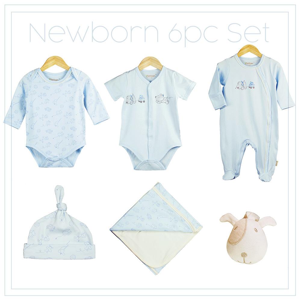 Certified Organic Baby Boy Newborn 6pc Set, Blue