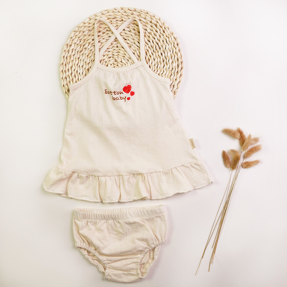 Certified Organic Baby Girl Spaghetti Strap Dress with Diaper Cover