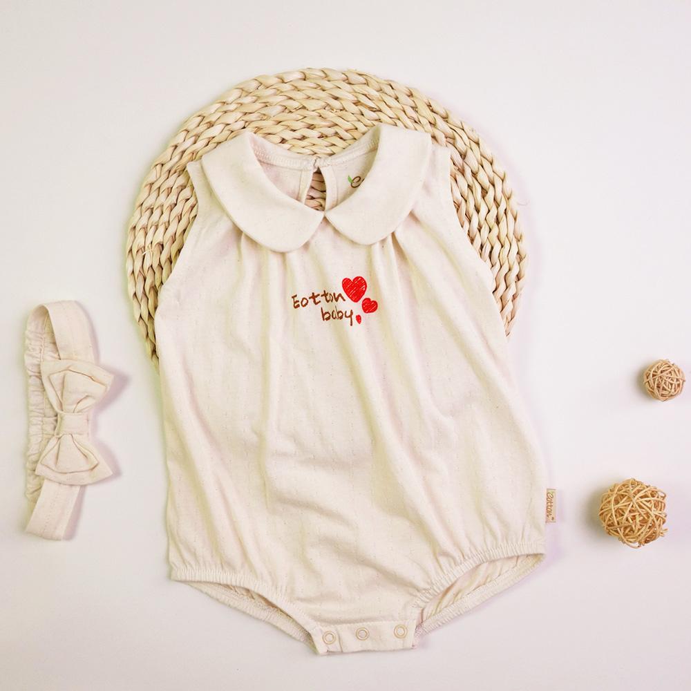 fc0b9986a551f Certified Organic Baby Girl Peter Pan Collar Bodysuit - mommiganics