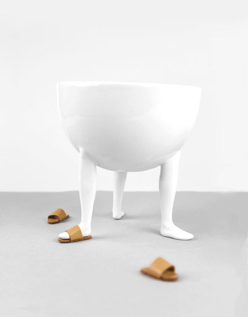 Chen Chen & Kai Williams Leg Bowl with Tan Leather Slides