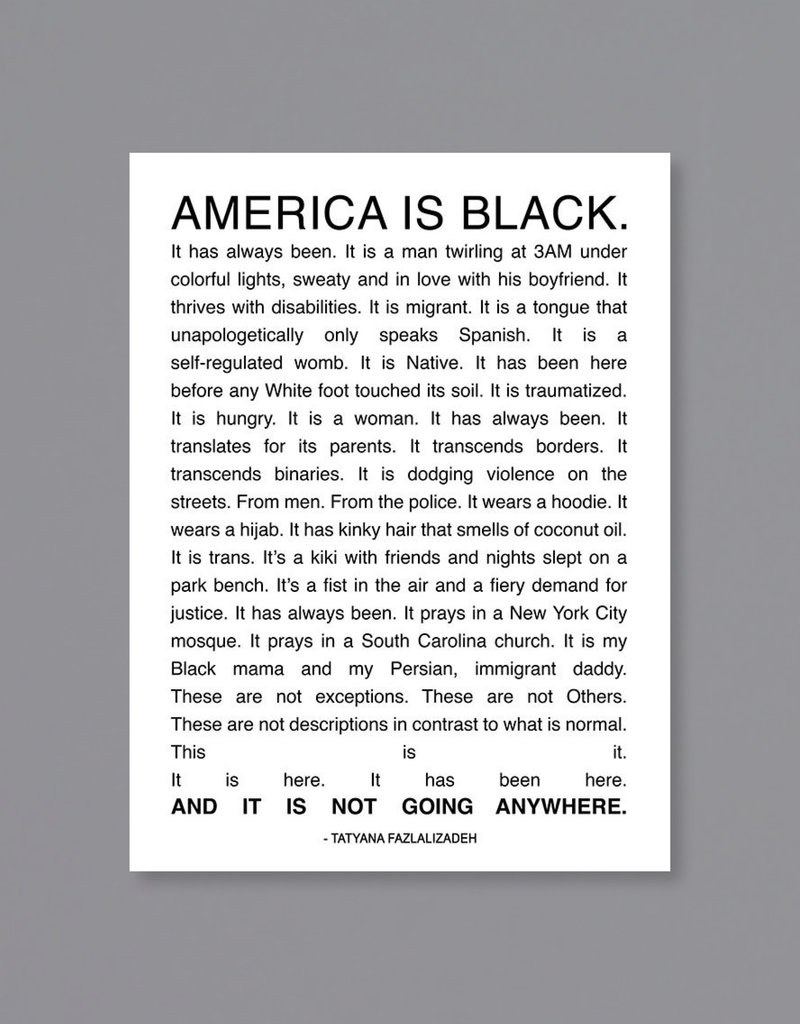 America is Black Poster Text