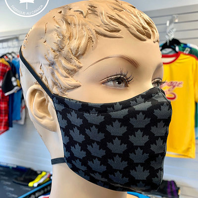 Laga LAGA WASHABLE PPE BLACK/GREY MAPLE LEAF FACE MASK