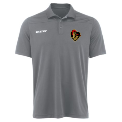 CCM CUSTOM CRUSADERS CCM TEAM POLO GOLF SHIRT GREY P5597 SR