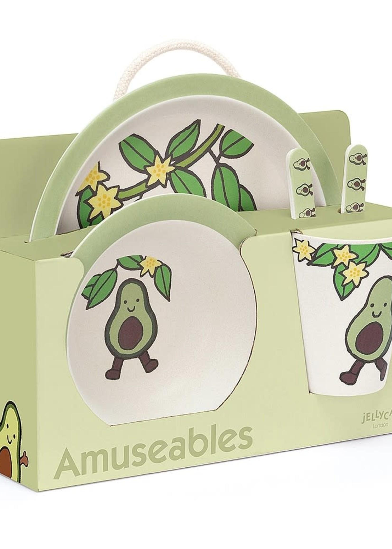 Jellycat JC Bamboo Tableware Set Avocado