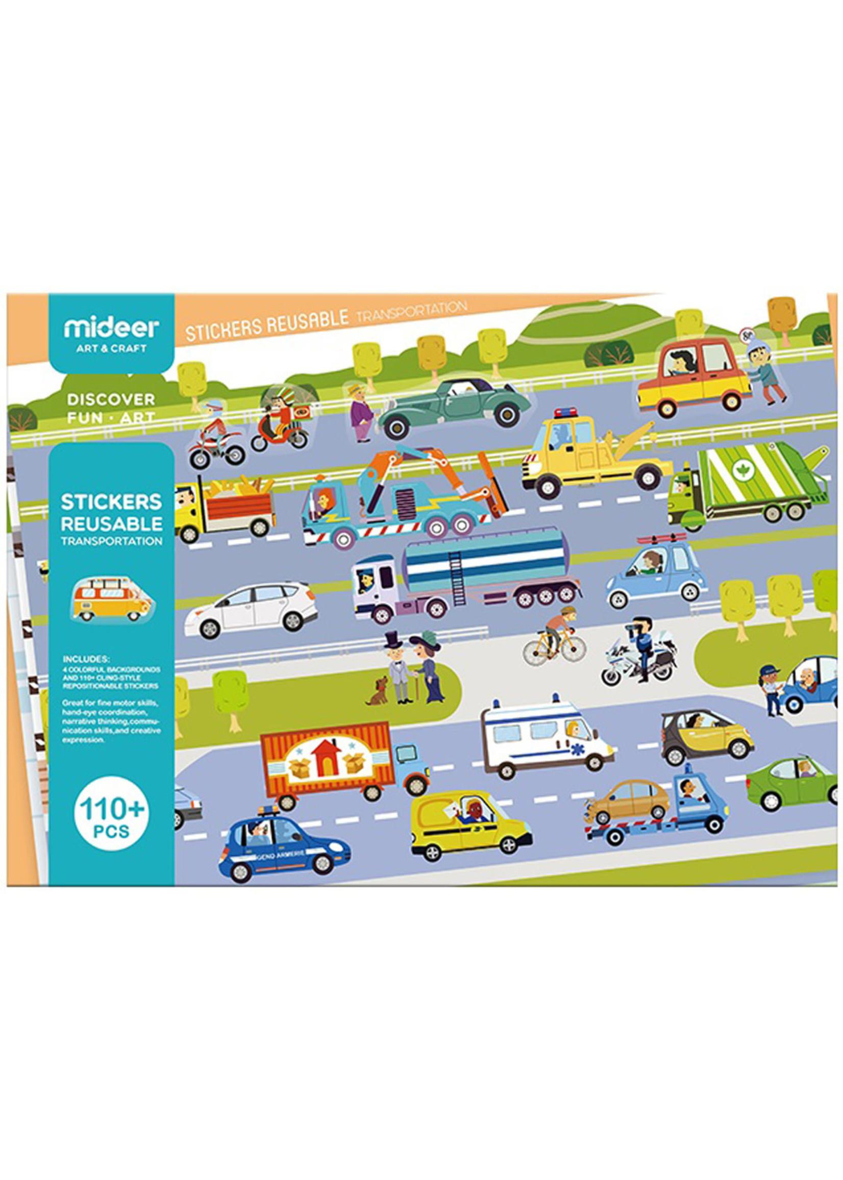 Mideer Mideer Reusable Sticker Set Transportation