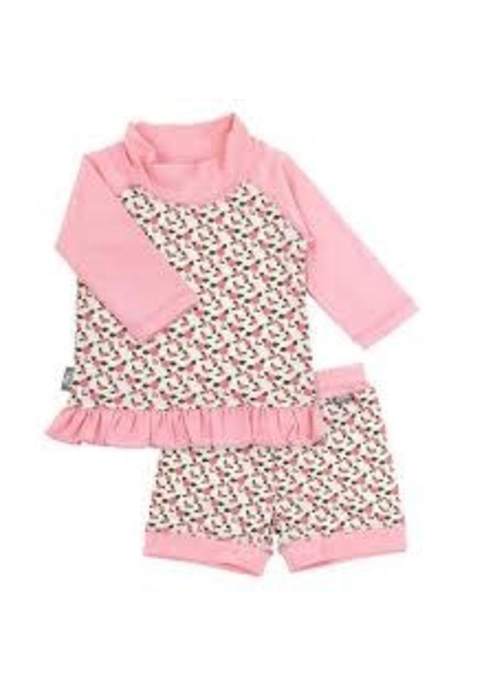 jan & jul Swim Shirt & Short Set (Tiny Rose)
