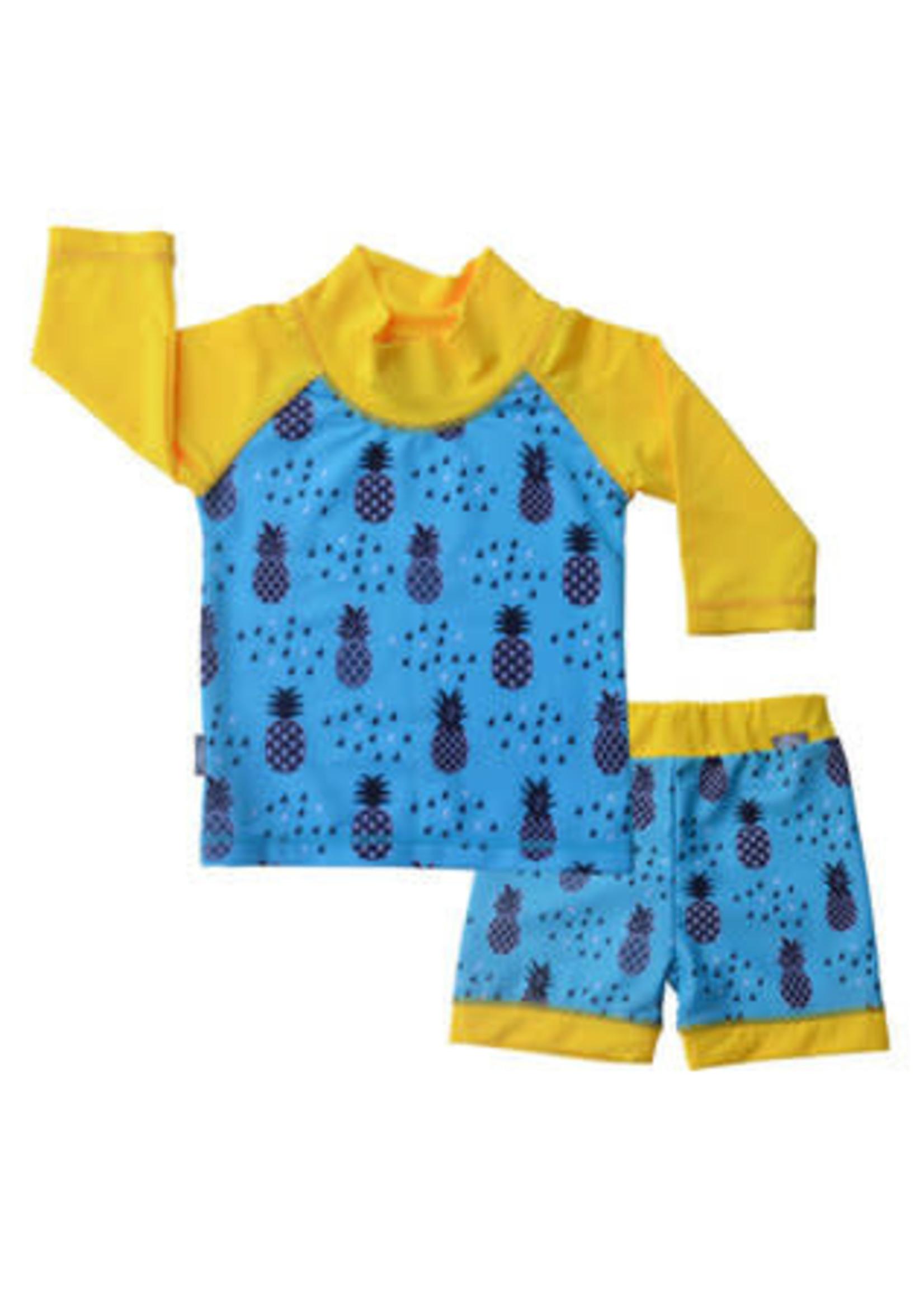 jan & jul Swim Shirt & Short Set (Pineapple)