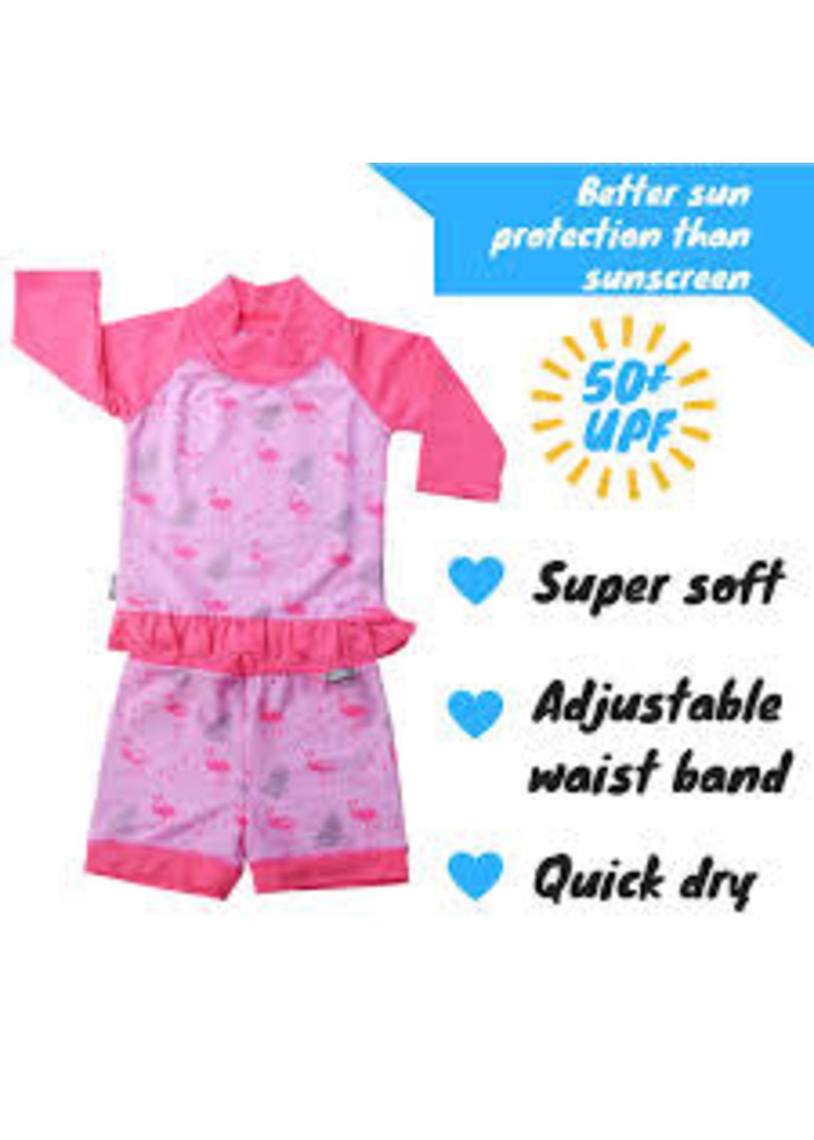 jan & jul Swim Shirt & Short Set (Flamingo)