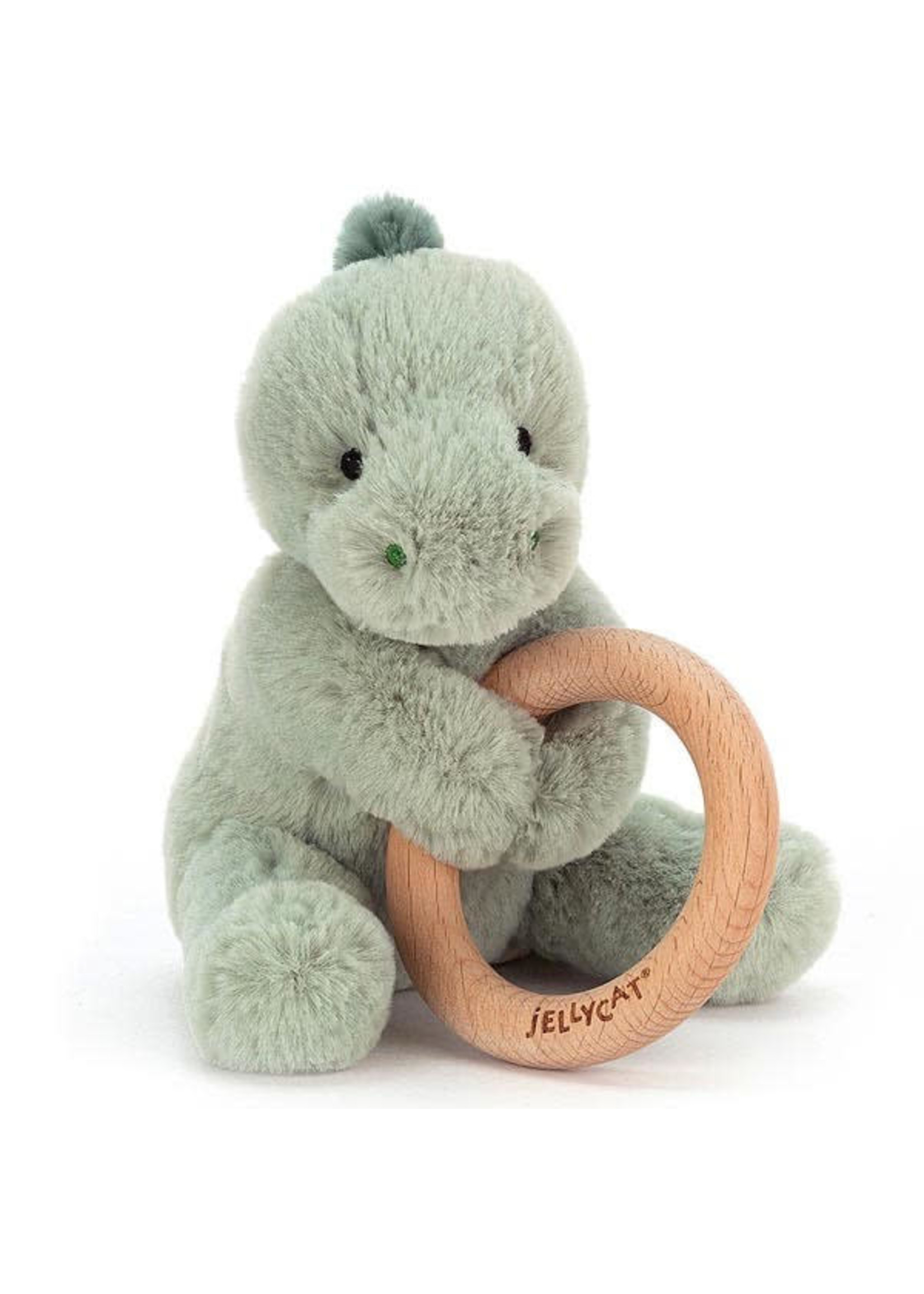 Jellycat JC Puffles Dino Wooden Ring Toy