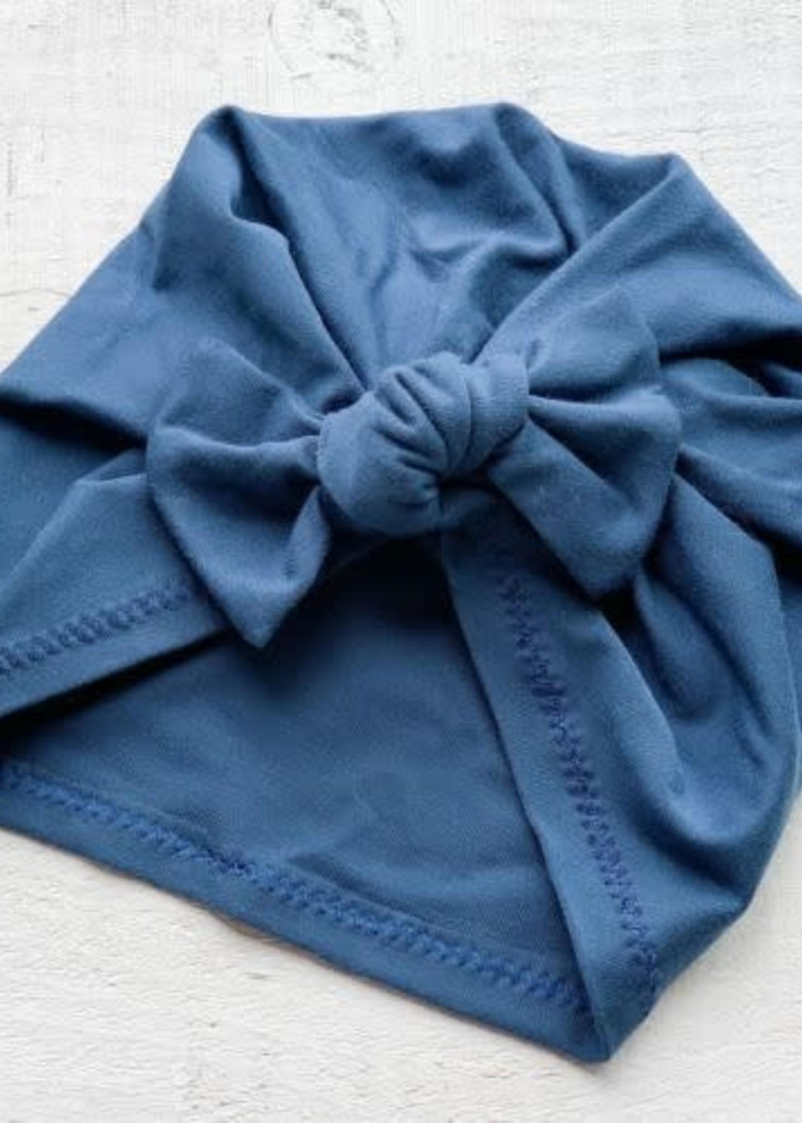 mini bretzel MB Premium Bow Turban (Dk Ocean)