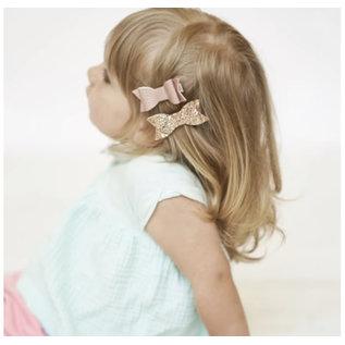 Lox Lion LL Bow Clip (Rose/Glitter Gold)