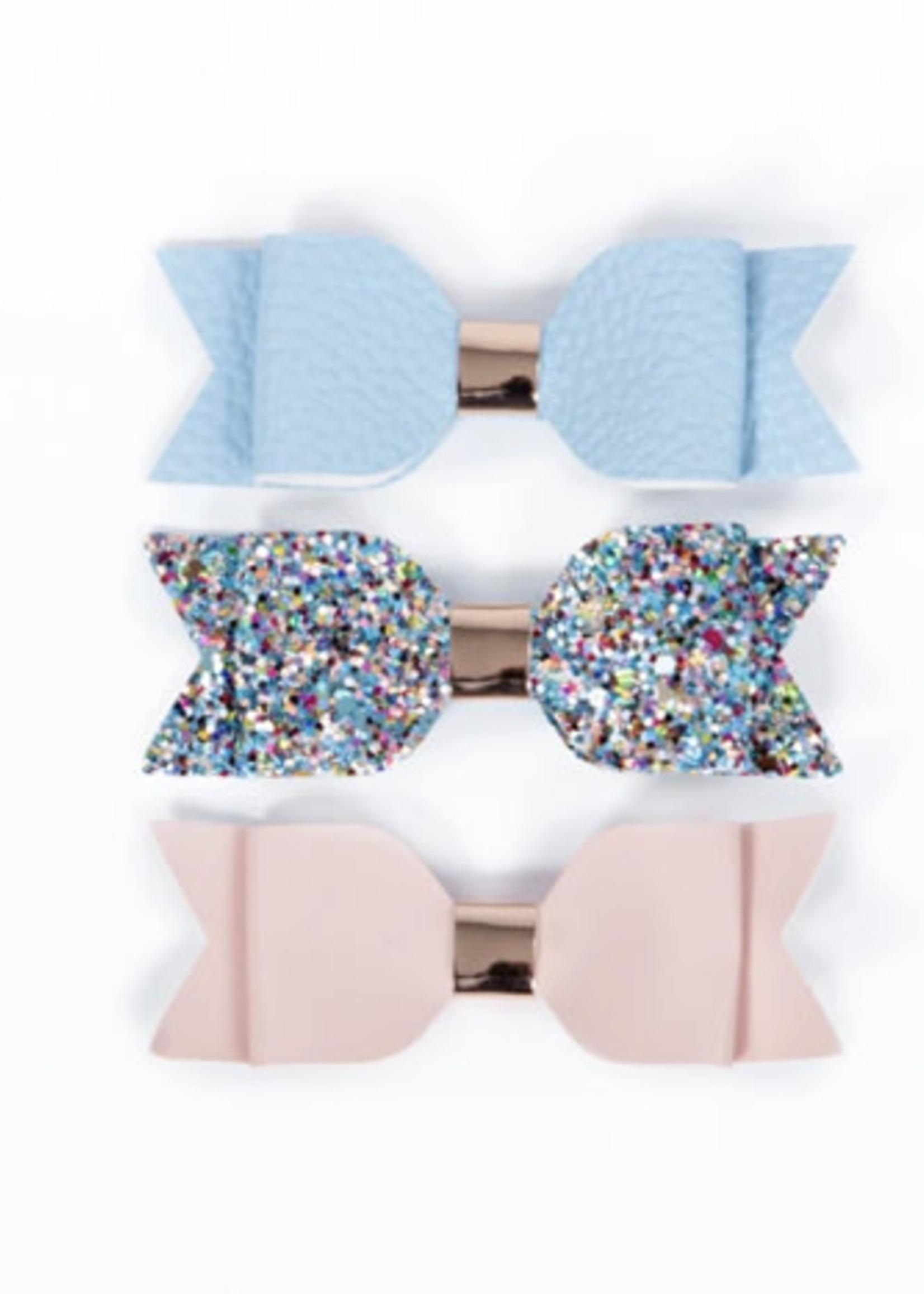 Lox Lion LL Bow Clip (Lt Blue/Confetti Sparkle/Pink)