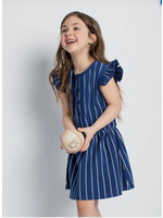 Miles Baby Miles Baby Blue Striped Flutter Dress