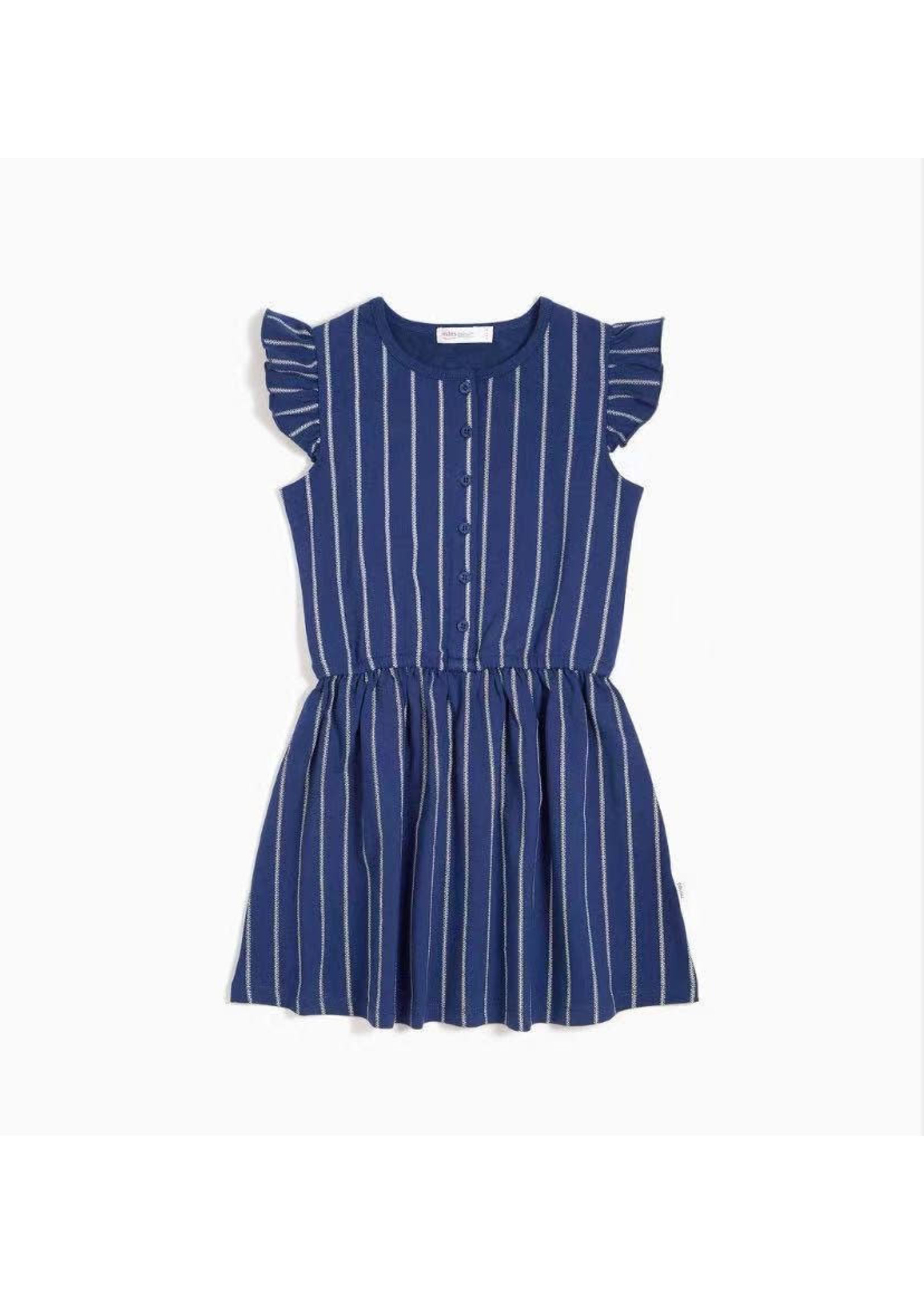 Miles Baby Miles Navy Striped  Dress