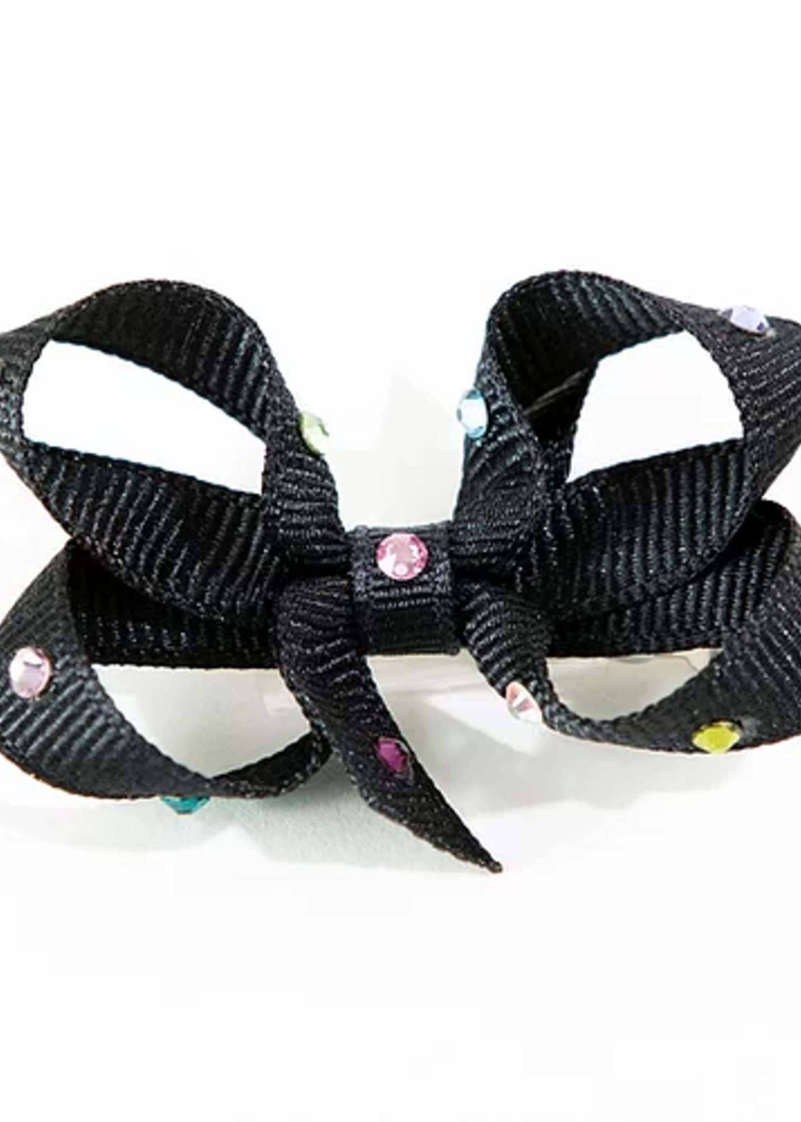 olilia Olilia Small Crystal Bow (Black Multi)