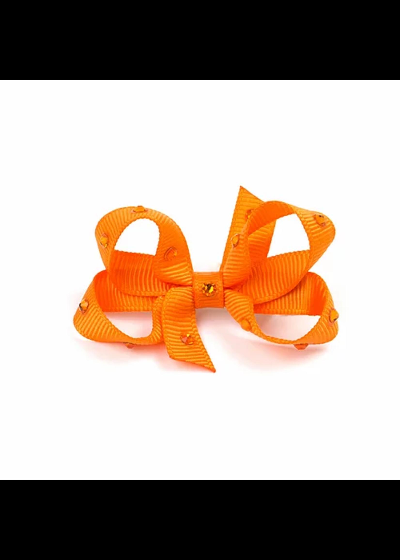 Olilia Small Crystal Bow (Tangerine)