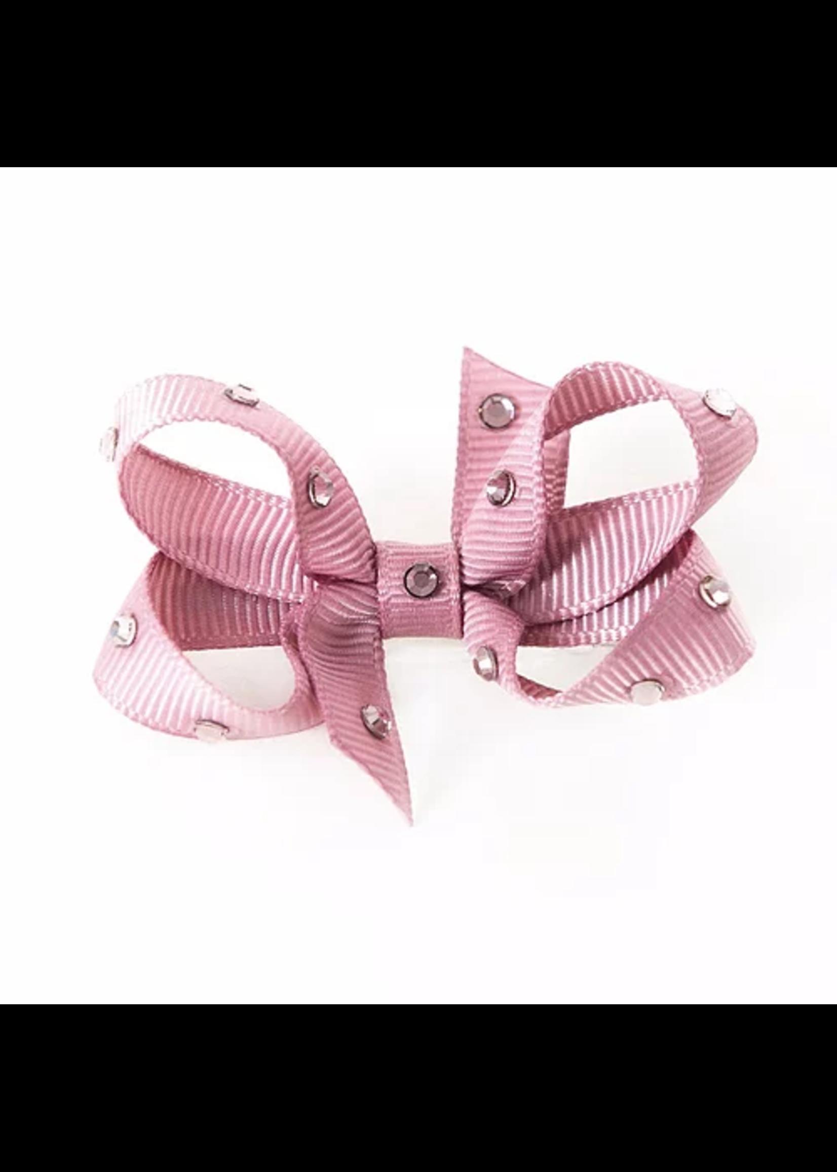 Olilia Small Crystal Bow (Rosy Mauve)