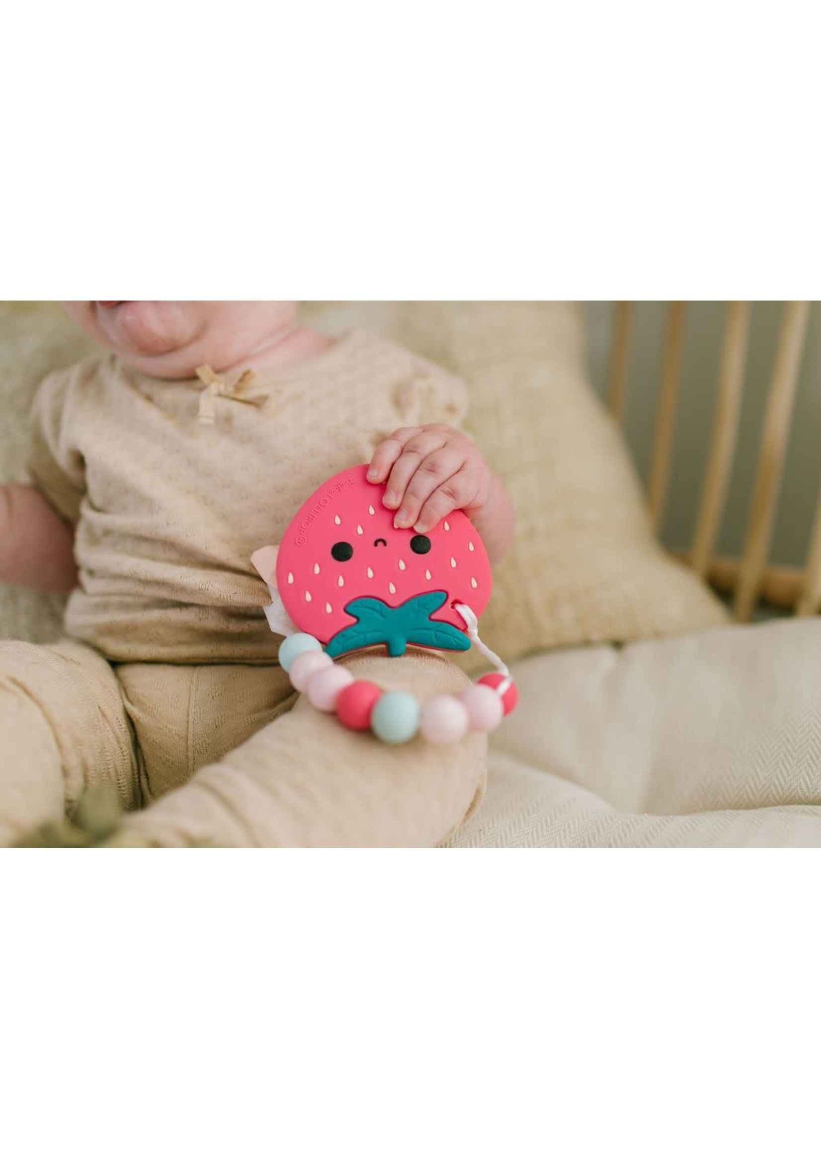 Loulou Lollipop LLP Teether w/clip (Strawberry)