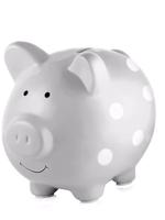pearhead Pearhead Ceramic Piggy Bank (Grey/White Dot)