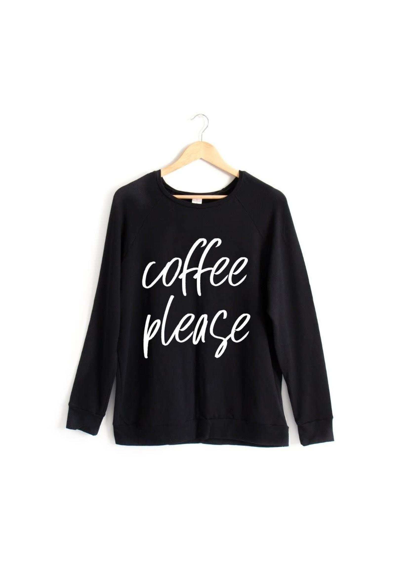 posh&cozy P&C Coffee Please Adult Crewneck (Black)