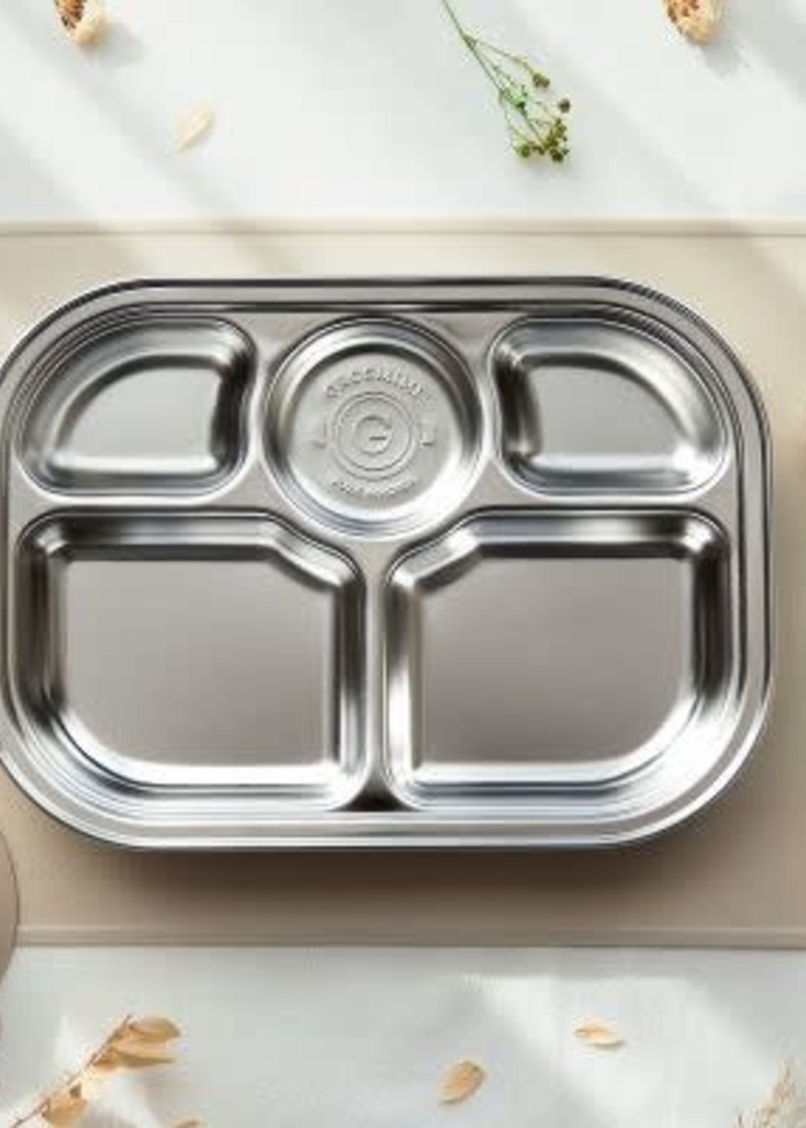 Grosmimi Grosmimi Stainless Steel Food Tray  5 Compartments ( cover & Suction plate included)
