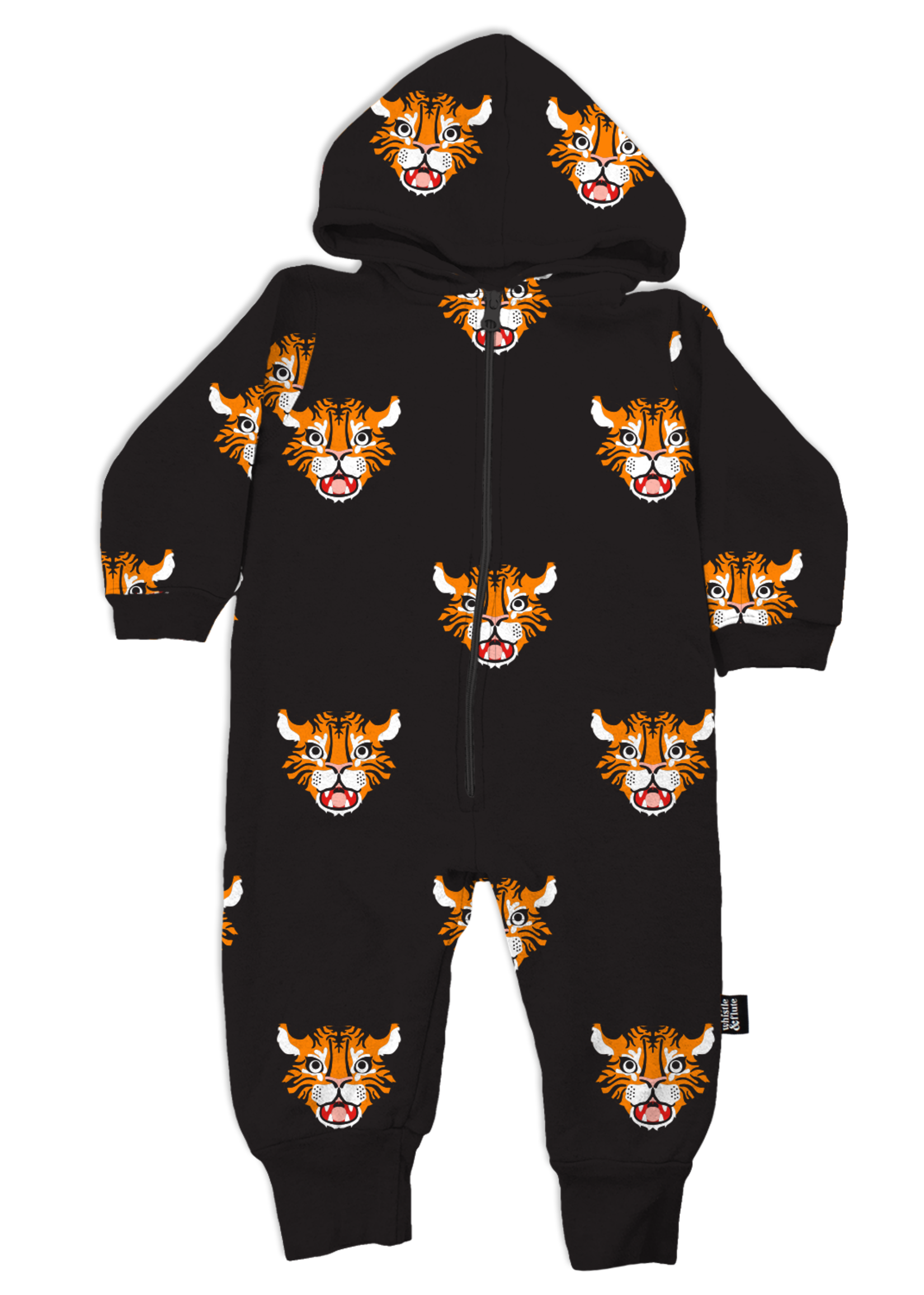 Whistle & Flute W&F Hooded Romper (All-Over Tiger)