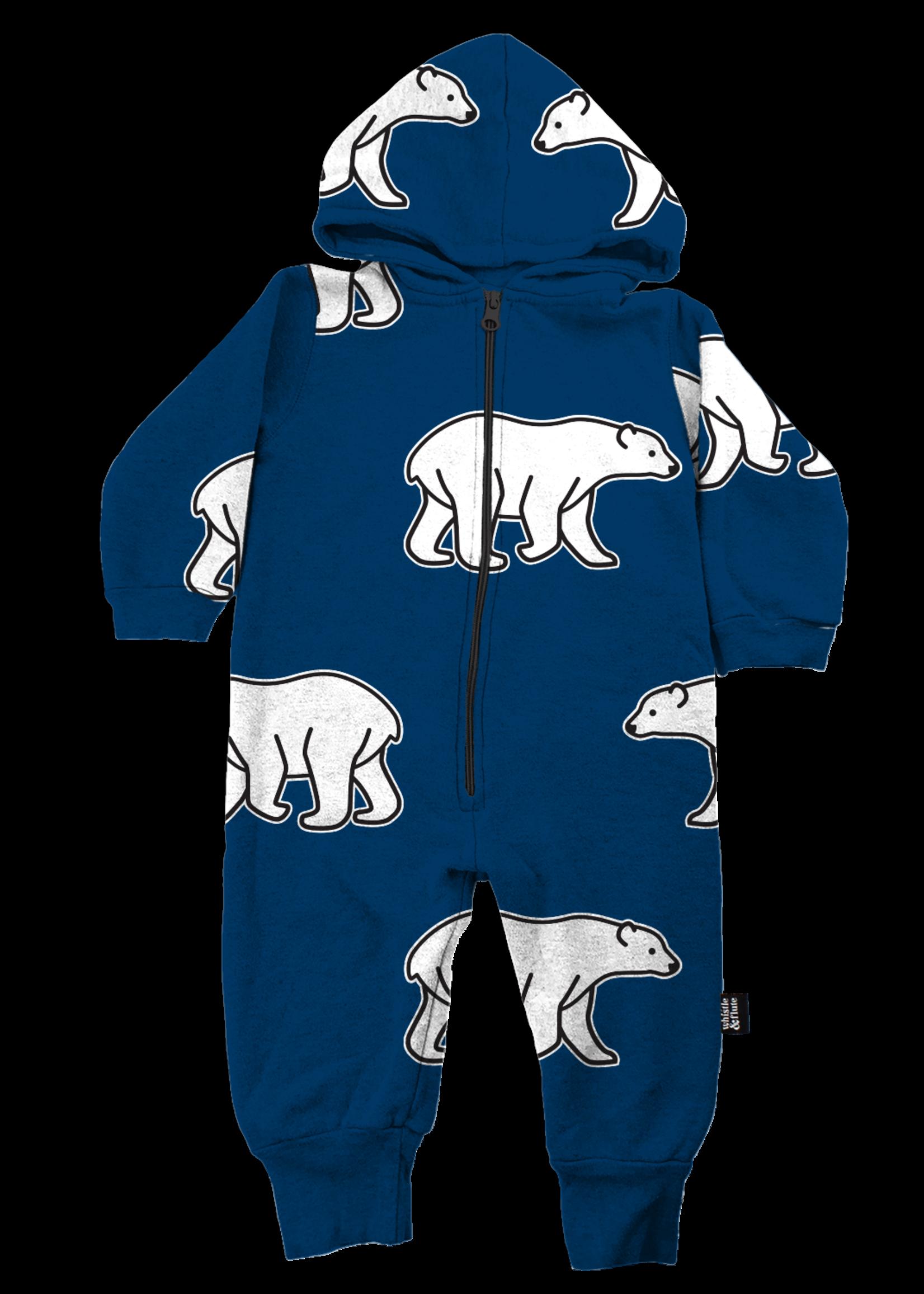Whistle & Flute W&F Hooded Romper (All-Over Polar Bear)