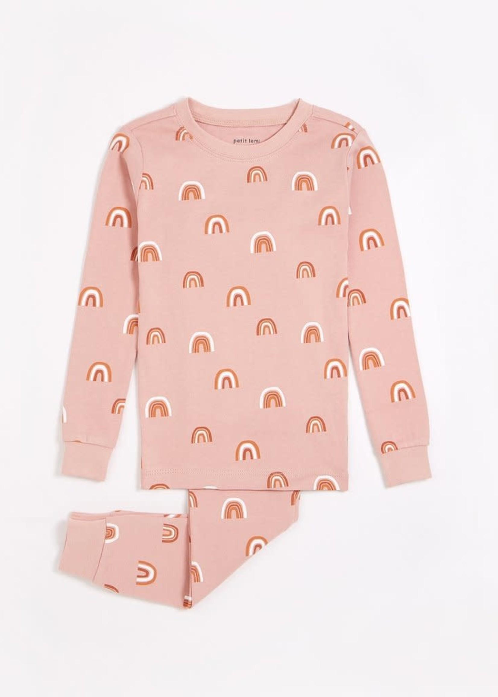 petit lem Petit Lem Rainbow Print Pink PJ Set