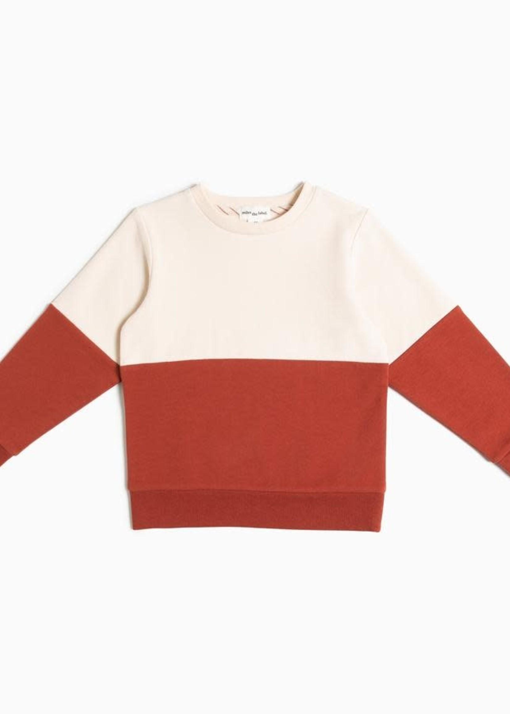 miles the label MB Tapioca/Henna Orange Colorblock Sweater