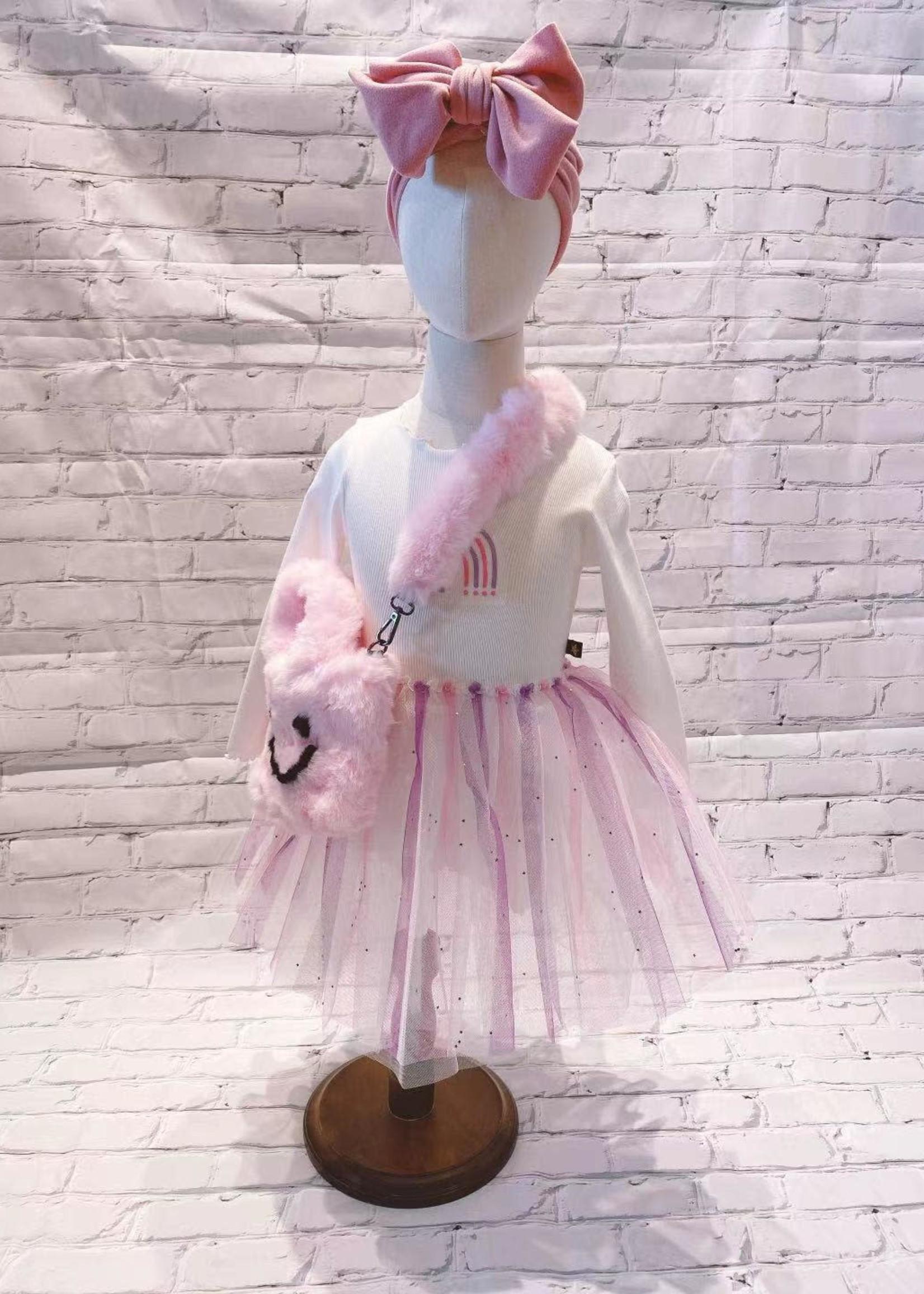 Petite Hailey PH Mini Happy Face Tote W/Crossbody Strap (Pink)