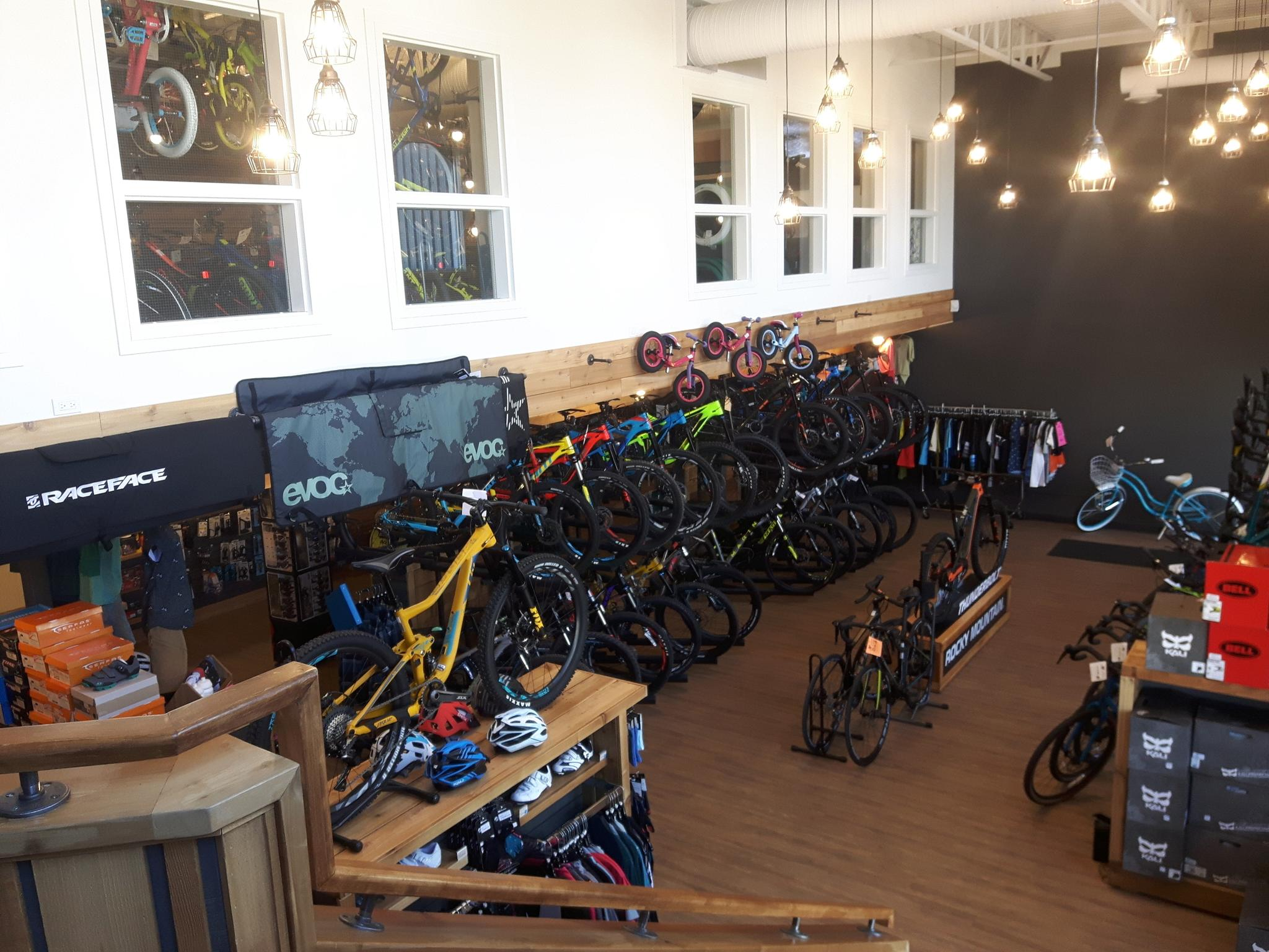 Inside Bike Bros. in Cochrane. Canada's Best Bike Shop.