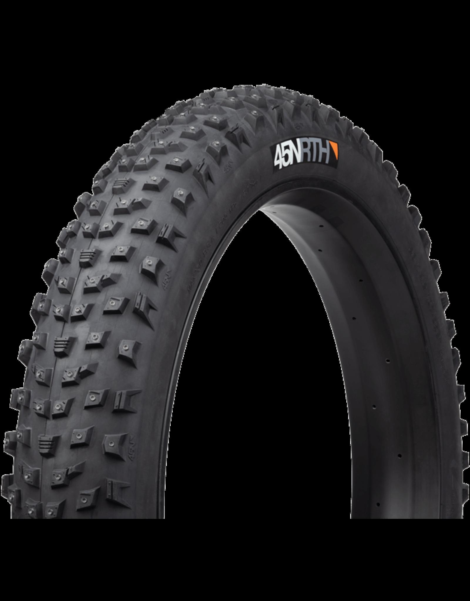 45NRTH 26x4.2 Wrathlorde 45NRTH Tire, TR, Folding, Black, 120tpi, 300 XL Concave Carbide Aluminum Studs