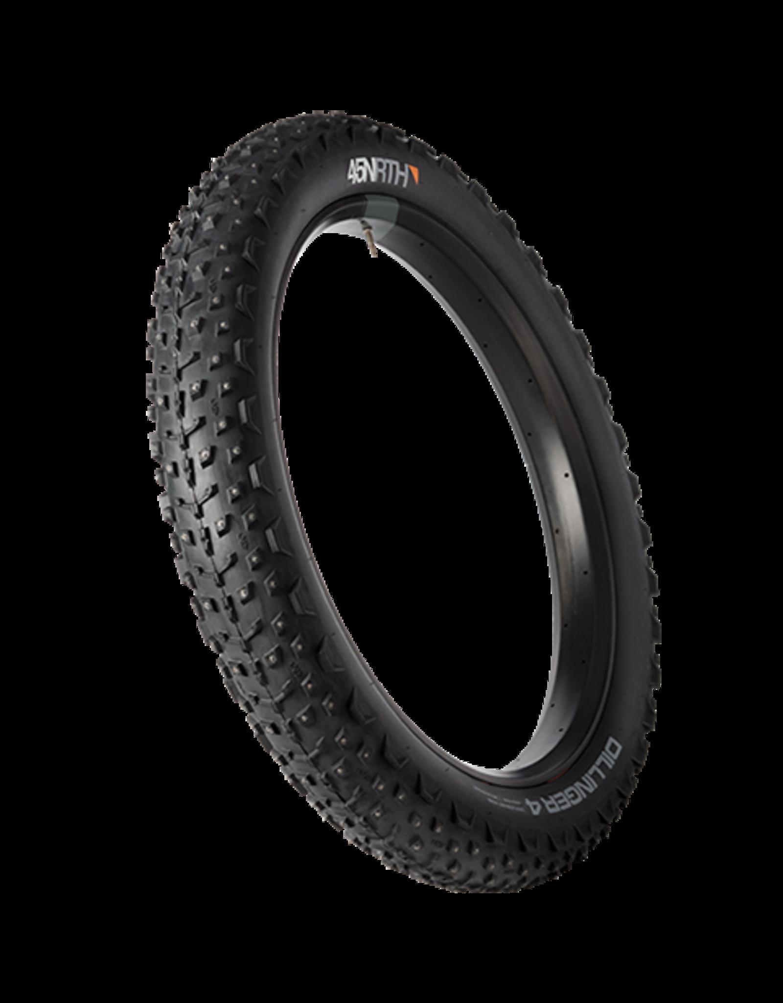 45NRTH 27.5x4.0 45 Dillinger 4 NRTH Tire, TR, Fold, Black, 120tpi, 252 Concave Carbide Aluminum Studs