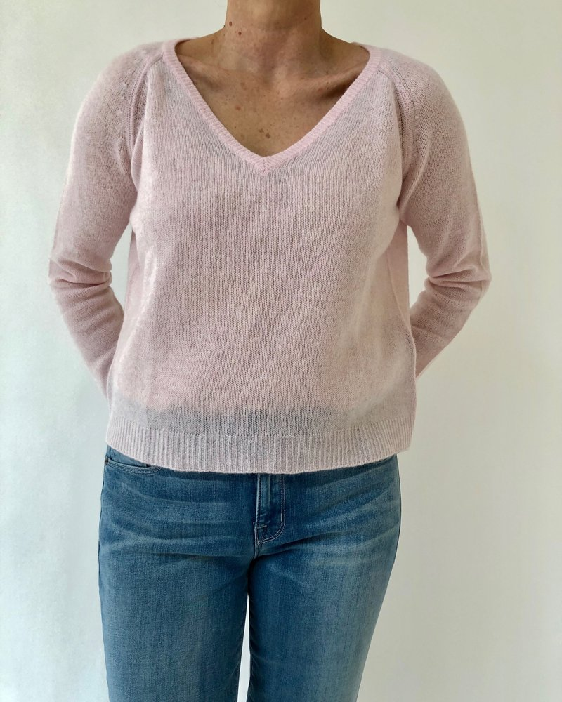 Jumper 1234 Loose Knit Vee Pink Blossom