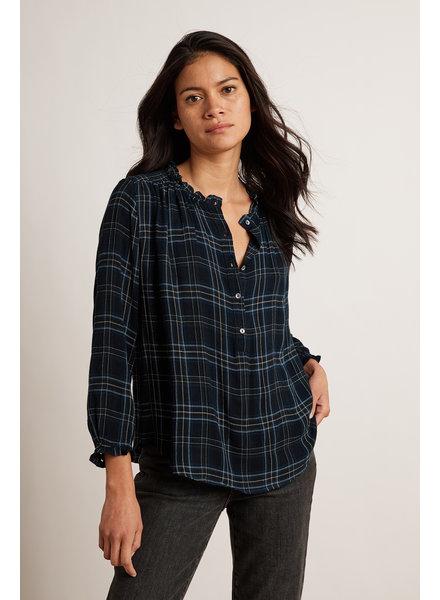 Velvet VT Rayon Plaid Shirt Indigo