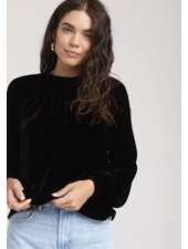 Bella Dahl BD Gather Raglan Velv Blouse Black