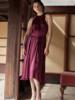 Velvet VT Camilla Satin Tie Dress Wine